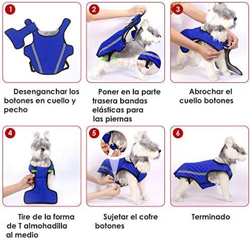 Chaqueta de invierno para perros forro de franela desmontable abrigo para perros cuello ajustable y tamaño de pecho pequeños medianos grandes 8