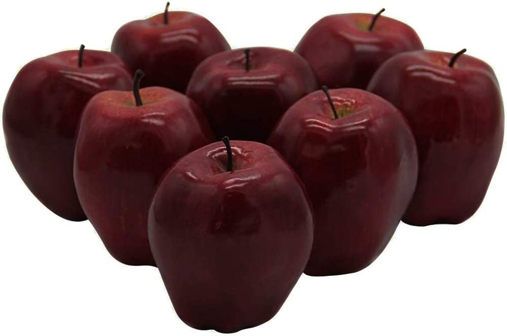 Q/A 8PCS Fake Apples, Plastic Artificial Fruit, Deep Red Apples for Kitchen Decoration & Realistic Apple Photography Props Model, Fall Apples Decor (Deep Red)