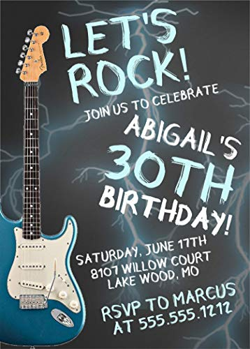 Rock And Roll Birthday Invitations (Guitar Rock & Roll Birthday Party Invitations, Guitar Birthday Party Supplies, Guitar Party Decor, Rock & Roll Birthday Party)