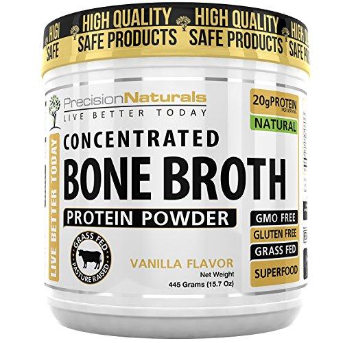 Vanilla Bone Broth Protein Powder - Paleo Friendly - Natural Non GMO Grass Fed Beef - Gluten Free Ancient Form of Nutrition Made Modern 445g/15.7oz 20 Servings. Premium Collagen Peptides