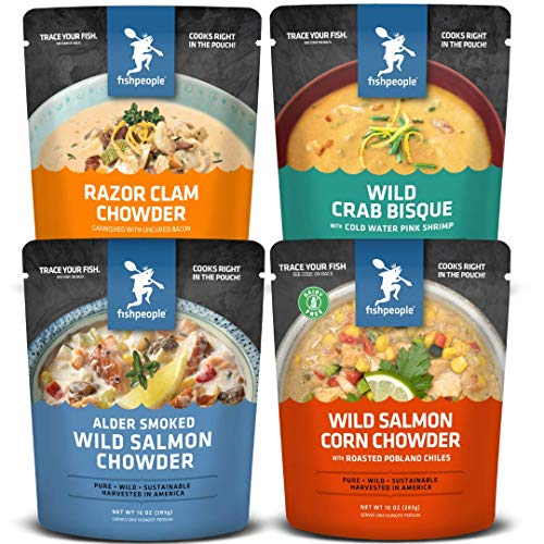 - Fishpeople Wild Seafood Soup + Chowder Variety Pack, 10 ounce pouches (4 pack), Microwaveable, Gluten-Free, Packed with Protein and Omega-3s, BPA-free, Ready to Eat Wild-Caught Sustainable Seafood