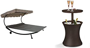 Abba Patio Outdoor Portable Double Chaise Lounge Hammock Bed, Grey & Keter Pacific Cool Bar Outdoor Patio Furniture and Hot Tub Side Table with 7.5 Gallon Beer and Wine Cooler, Espresso Brown