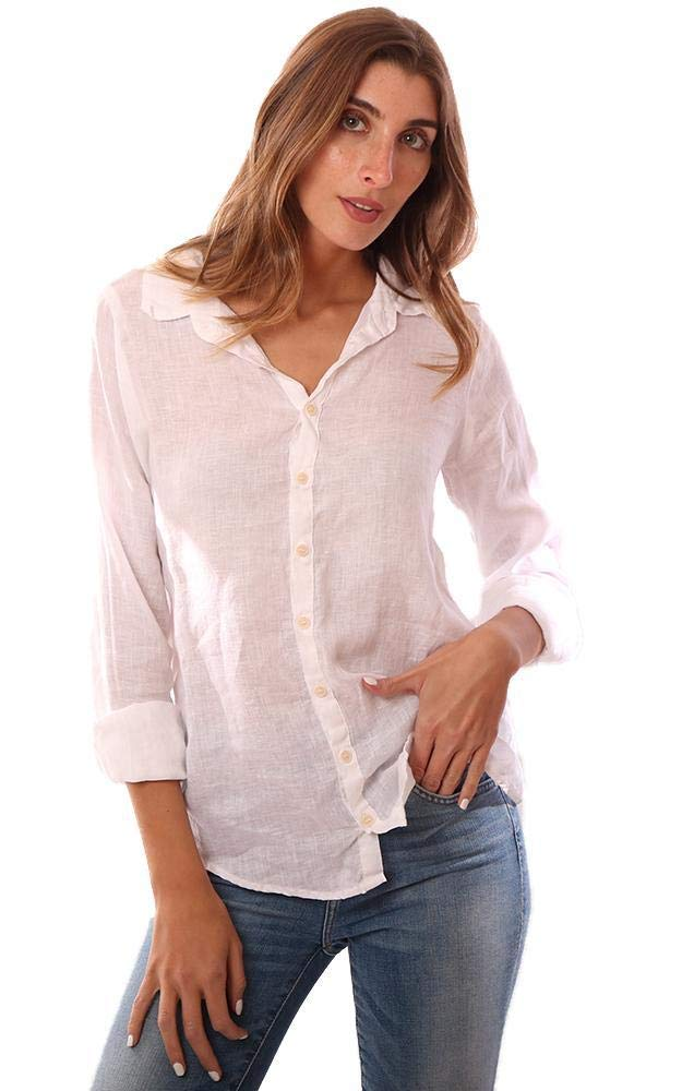 CP SHADES Tops Button Down Long Sleeve Linen White Shirt - White - M by CP SHADES (Image #1)