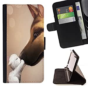 For Samsung Galaxy S5 Mini, SM-G800 Cat Dog Friendship Love Cute Sweet Kitten Beautiful Print Wallet Leather Case Cover With Credit Card Slots And Stand Function