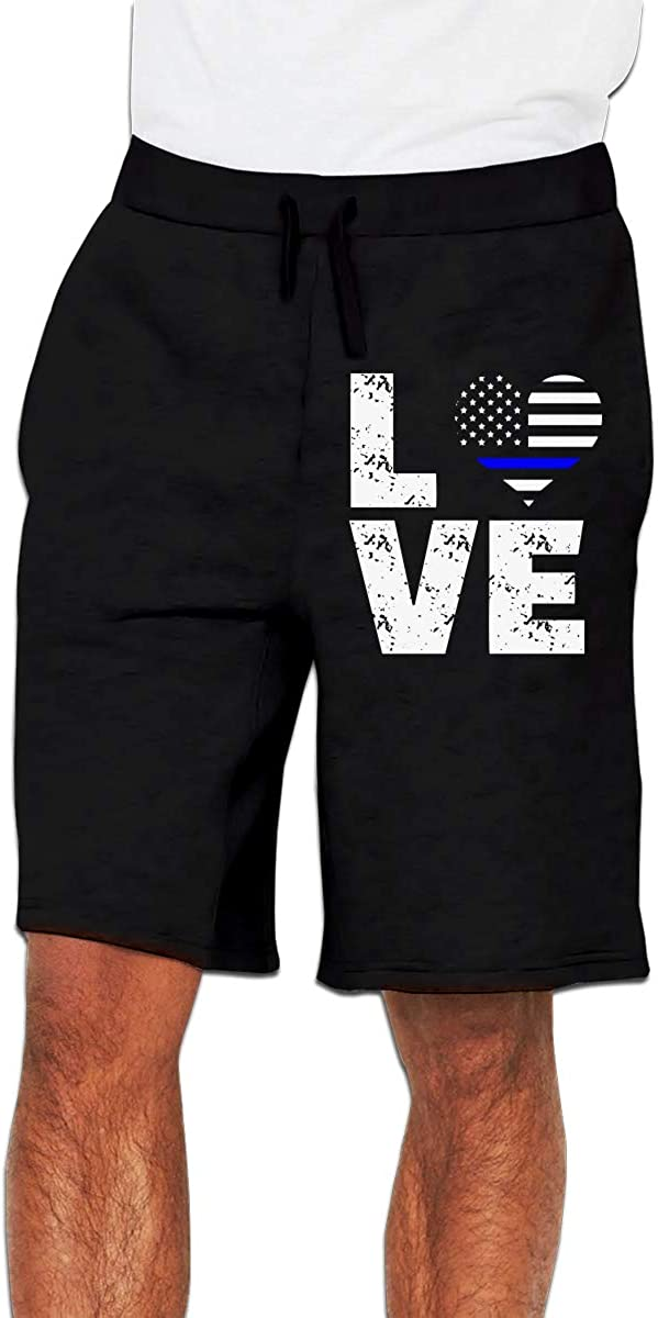 Mens Fashion Love Thin Blue Line USA Flag Jogger Sweatpant Training Gym Shorts