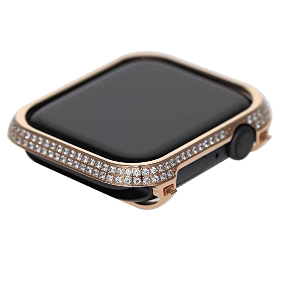 sale retailer ee792 affc8 Callancity Rhinestone Crystal Diamond Bezel Case Face Cover Decorative  Compatible Apple Watch Series 4 40mm White Crystals for Men/Women (Rose  Gold, ...
