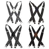 Bundle Monster 4pc Jacquard Weave Design X-Back Adjustable Clip Unisex Suspender