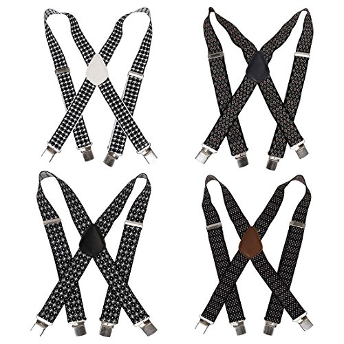 Bundle Monster 4pc Jacquard Weave Design X-Back Adjustable Clip Unisex Suspender by Bundle Monster