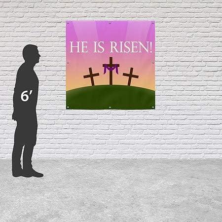 CGSignLab 8x8 Square Heavy-Duty Outdoor Vinyl Banner He is Risen Sunrise