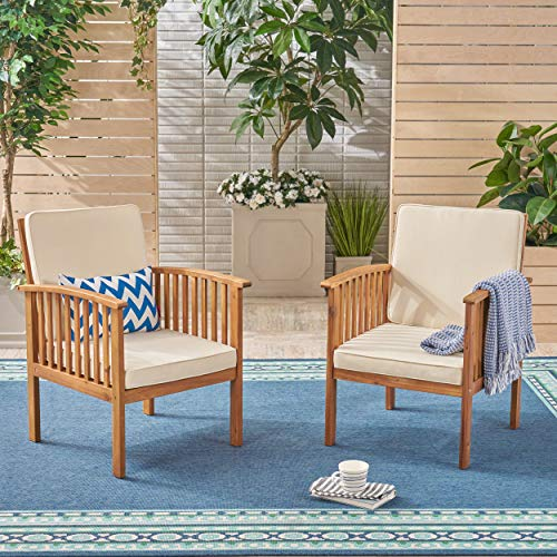 Great Deal Furniture Ray Acacia Outdoor Acacia Wood Club Chairs, Brown Patina and Cream (Set of 2)