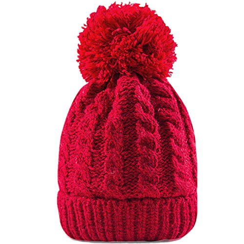 MTR Women's Winter Beanie With Warm Lining - Thick Slouchy Cable Knit Skull Hat Pom Pom Ski Cap In 7 Colors (Red)