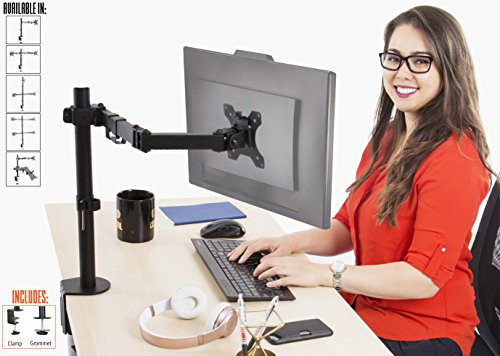 Stand Steady Single Monitor Arm | Height Adjustable with Ful
