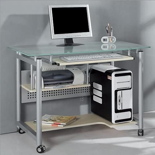 Rolling Computer Desk Glass and Silver Colored Metal Home Office Computer Workstation