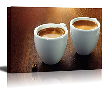 Canvas Prints Wall Art - Two Espresso Coffees in Small White Cups | Modern Wall Decor/Home Decoration Stretched Gallery Canvas Wrap Giclee Print & Ready to Hang - 32