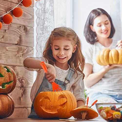 HANSGO Pumpkin Carving Kit for Kids, 22PCS Easy Halloween Pumpkin Carving Tools Set with LED Candles, Carving Stencils, Storage Bag