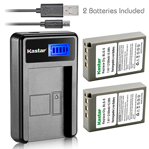 Kastar Battery (X2) & LCD USB Charger for Olympus BLS-5 PS-BLS5 and Olympus OM-D E-400 E-410 E-420 E-450 E-600 E-620 E-P1 E-P2 E-P3 E-PL1 E-PL2 E-PLE15 E-PM1 E-PM2 E-M10 E-PL6 E-PL5 stylus 1 Camera (Battery Digital Camera 400)