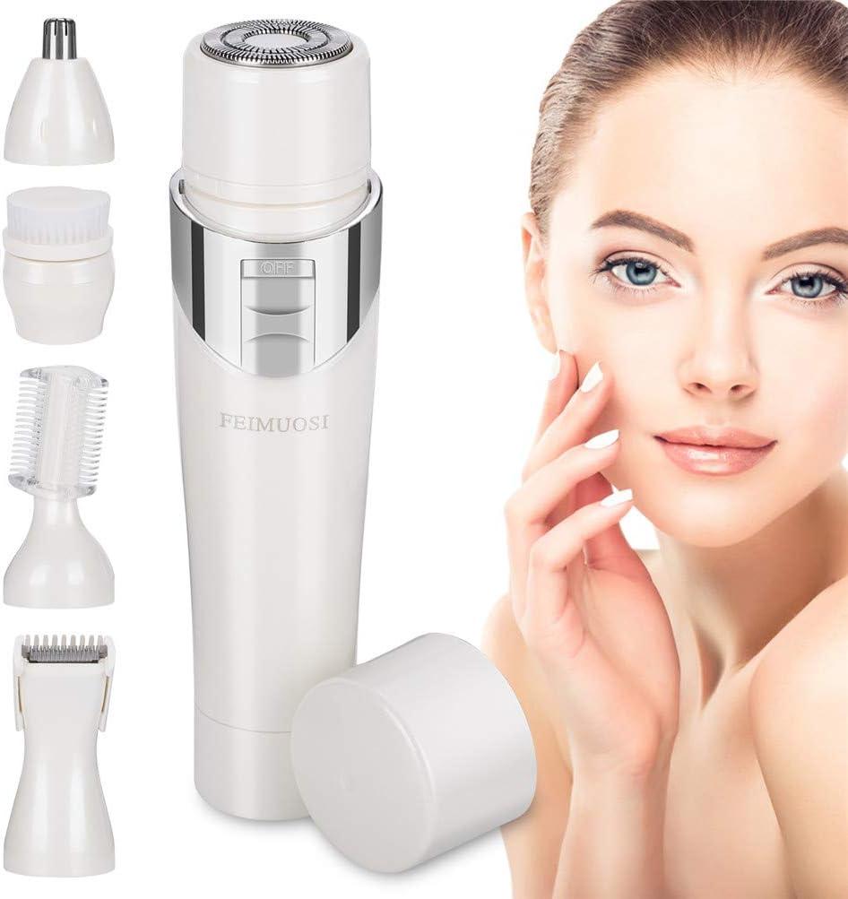 5 en 1 Depilacion Facial Mujer, Sin dolor Depilación Facial USB recargable Recortadora eléctrica Impermeable Afeitadora eléctrica mujer Regalo de Navidad