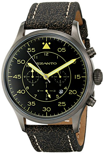 Szanto Men's SZ 2601 Szanto 2600 Series Analog Display Japanese Quartz Black Watch by Szanto