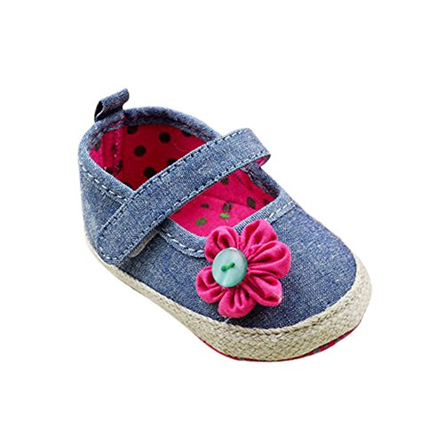 Weixinbuy Infant Toddler Girls Demin Flower Soft Sole Prewalker Mary Jane Shoe L