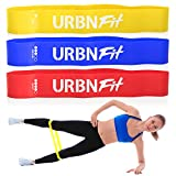 URBNFit Loop Exercise Bands 3 Pack w/Workout Guide- Workouts, Stretching and Rehabilitation (Easy, Medium, Hard) – Booty Bands