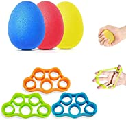 Exercise Hand Squeeze Stress Balls with Finger Stretcher, Grip Strength Trainer 6 PCS to Finger Wrist Exercise