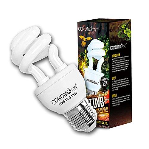 UVB Reptile Light Bulb, CONOMOYPET Compact Fluorescent Desert Terrarium Lamp For Reptile Amphibian Calcium Supplement 13 Watts (10.0 for (Uva Uvb Reptiles)