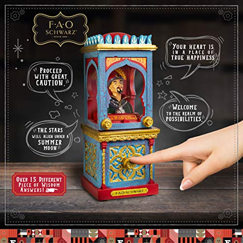 FAO Schwarz Zoltan The Fortune Teller Vintage Carnival-Style Fortune Telling Machine, Button-Activated Talking Fortunes with LED Light & Animation; Classic Retro Design in Blue/Red/Gold by FAO Schwarz (Image #1)