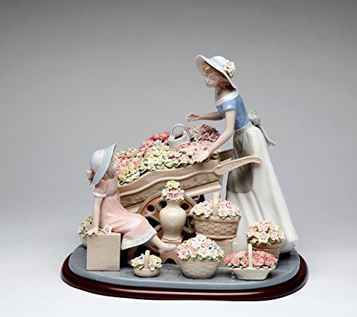 Fine Porcelain Figurine - Lady with Flowers Wagon