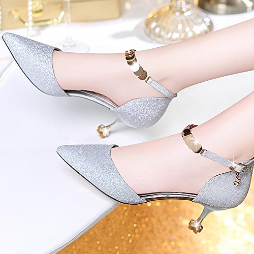 Femme Noir Haute Talons Mode Sexy Travail Court Chaussures De Mariage Talons Moyens Chaussures De Fête Party Nightclub,Silver-6.5cm-EU:36/UK:4