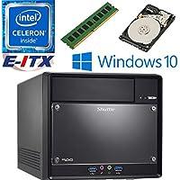 Shuttle SH110R4 Intel Celeron G3930 (Kaby Lake) XPC Cube System , 4GB DDR4, 1TB HDD, DVD RW, WiFi, Bluetooth, Window 10 Pro Installed & Configured by E-ITX