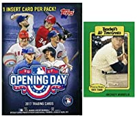 2017 Topps Opening Day MLB Baseball Factory Sealed Retail Box with 11 Packs & 77 Cards Plus BONUS Vintage MICKEY MANTLE Card! Includes 1 Insert in EVERY PACK! Look for Autographs & Relics!