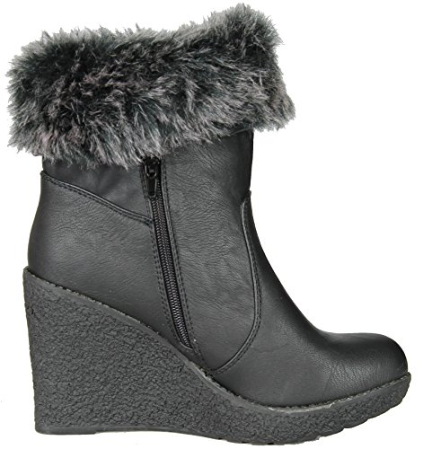 Boots Fur Enigma Bc599 with Womens Wedge Trim Black qwwtHaZxB
