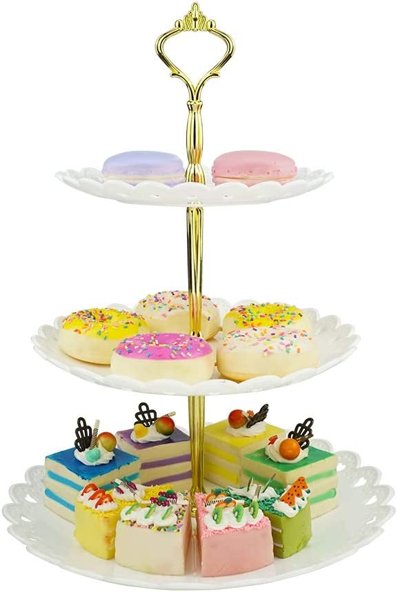 1 Set of 3-Tier Cake Fruit Biscuit Crown Dessert Plates Cupcake Stand for Wedding Birthday Shower Party Buffet