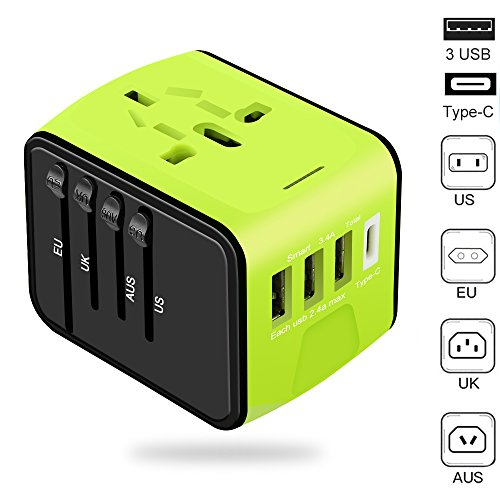 VOGTEL Universal Travel Adapter All-in-One International High Speed 3.0 Type C+3-Port USB Worldwide AC Wall Outlet Plugs for Business 200+ (Green 3 USB + Type C Travel Charger) by VOGTEL