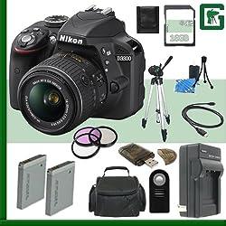 Nikon D3300 Cmos Dslr Camera With 18-55mm Vr Ii Lens (Black) + 16gb + Green's Camera Bundle