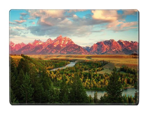 Colorful Mountains Clouds Landscapes Trees Placemat Pads Customized Made To Order Support Ready 15 6/8 Inch (400mm) X 11 13/16 Inch (300mm) X 1/8 Inch (3mm) High Quality Eco Friendly Cloth With Neoprene Rubber MSD Place Mouse Pad Desktop Mousepad Laptop Mousepads Comfortable Table Desk Kitchen Computer Mouse Mat Cute Gaming Mouse_Pad