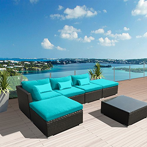 Modenzi 6L-U Outdoor Sectional Patio Furniture Espresso Brown Wicker Sofa Set (Turquoise) (Furniture Blue Wicker Light)
