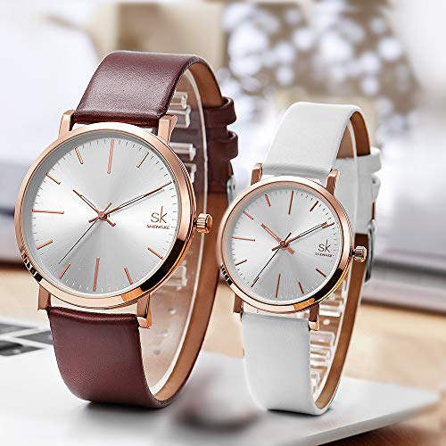 SK SHENGKE Couple Watches Anniversary Gifts for Lover Set of 2 Pairs Sweet Gifts for Valentines. (K8039-Brown-White) by SK SHENGKE (Image #1)