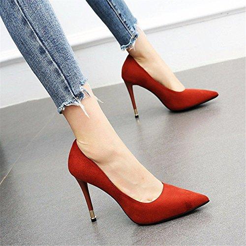 YMFIE Zapatos Simples del tacón de Aguja del Temperamento del Temperamento de la Moda Simples Solos Zapatos de Trabajo de Las señoras C