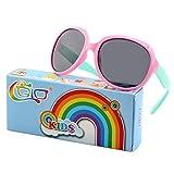 CGID Soft Rubber Kids Trendy stylish Polarized Sunglasses Flexible Frame 100% UV400 Protection for Children Boys and Girls Age 3-10,K89