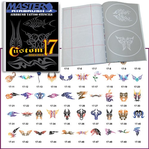 Master Airbrush Brand Airbrush Tattoo Stencils Set Book #17 Reuseable Tattoo Template Set, Book Contains 50 Unique Stencil Designs, All Patterns Come on High Quality Vinyl Sheets with a Self Adhesive Backing. by Master Airbrush