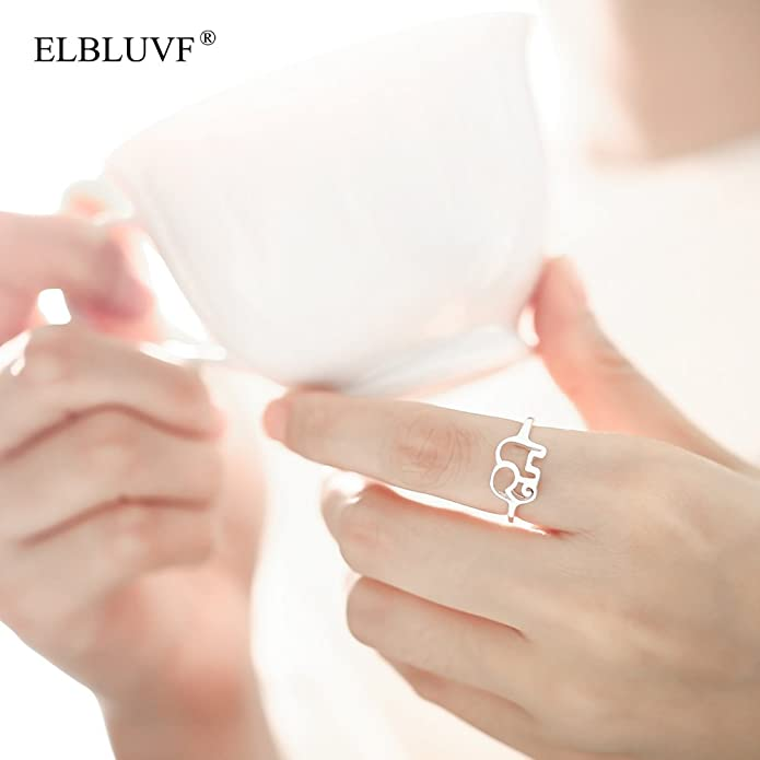 ELBLUVF 925 Sterling Silver Elephant Animal Lucky Ring Jewelry Bridesmaid Gift Favor df5KCo