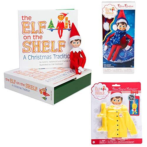 Elf on The Shelf Boy and Bonus Outfits: Scout Elf Boy, Snow Tube Set, and Elf Raincoat ()