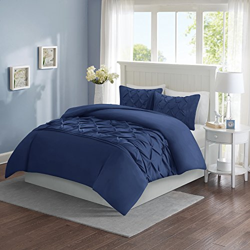 Comfort Spaces – Cavoy Duvet Cover Mini Set - 3 Piece – Navy – Tufted Pattern With Corner Ties – Full / Queen, includes 1 Duvet Cover, 2 (Blue 3 Piece Mini Comforter)