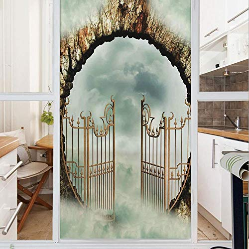 Decorative Window Film,No Glue Frosted Privacy Film,Stained Glass Door Film,Vintage Door Gate in the Sky With Clouds Dreamy Castle Fairytale Illustration Decorative,for Home & Office,23.6In. by 78.7In