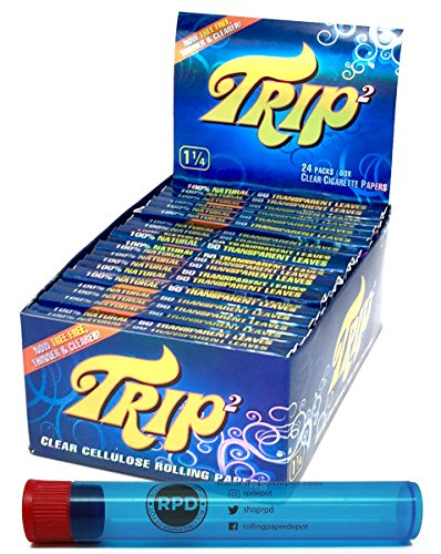 Trip2 Cellulose Clear Rolling Papers Mini Size (24 Packs/Full Box) with Rolling Paper Depot Doob Tube (Best Clear Rolling Papers)