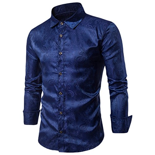 Abetteric Men's Button Down Embroidered Fit Long Sleeve Western Shirt Navy Blue (Embroidered Cotton Chino)