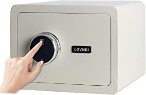 Lovndi Security Digital Safe Box, Biometric Safe Fingerprint Safes for Home Office, 13.8 x 9.8 x 9.8 inches, White