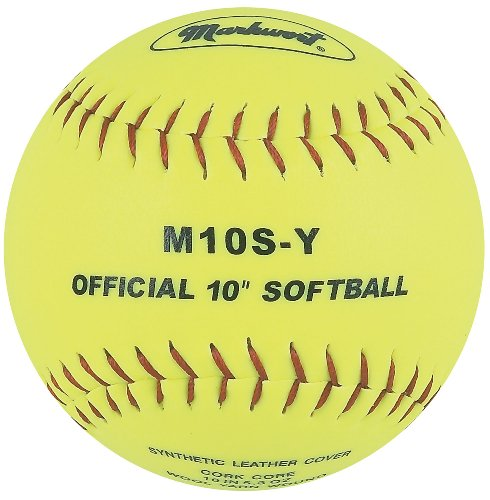 Markwort 10-Inch Synthetic Cover/Cork Core Softball, Yellow, 1 Dozen (Pack of 12)
