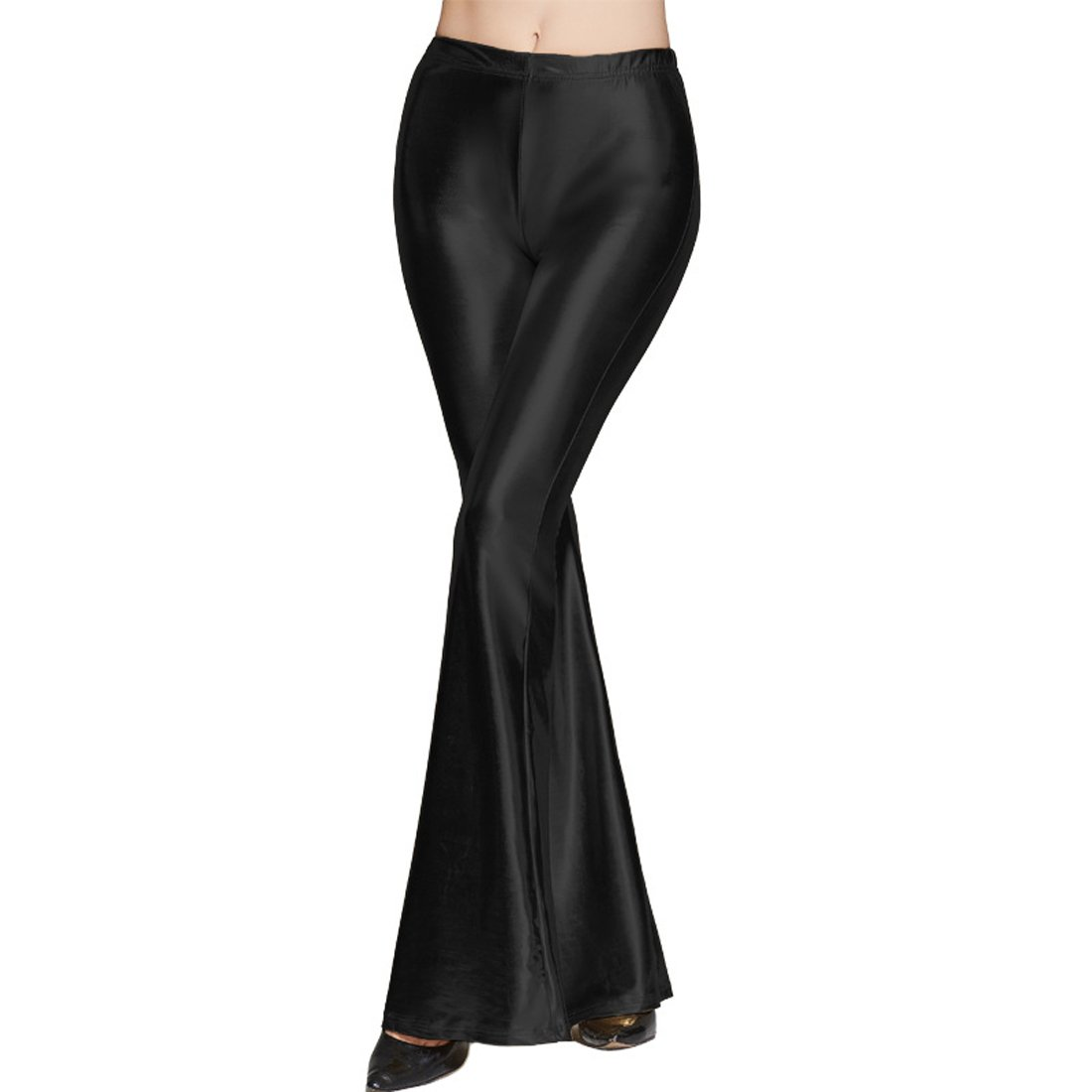 Destinas Women's High Waist Shiny Long Pants Flare Bell Bottom Trousers Black